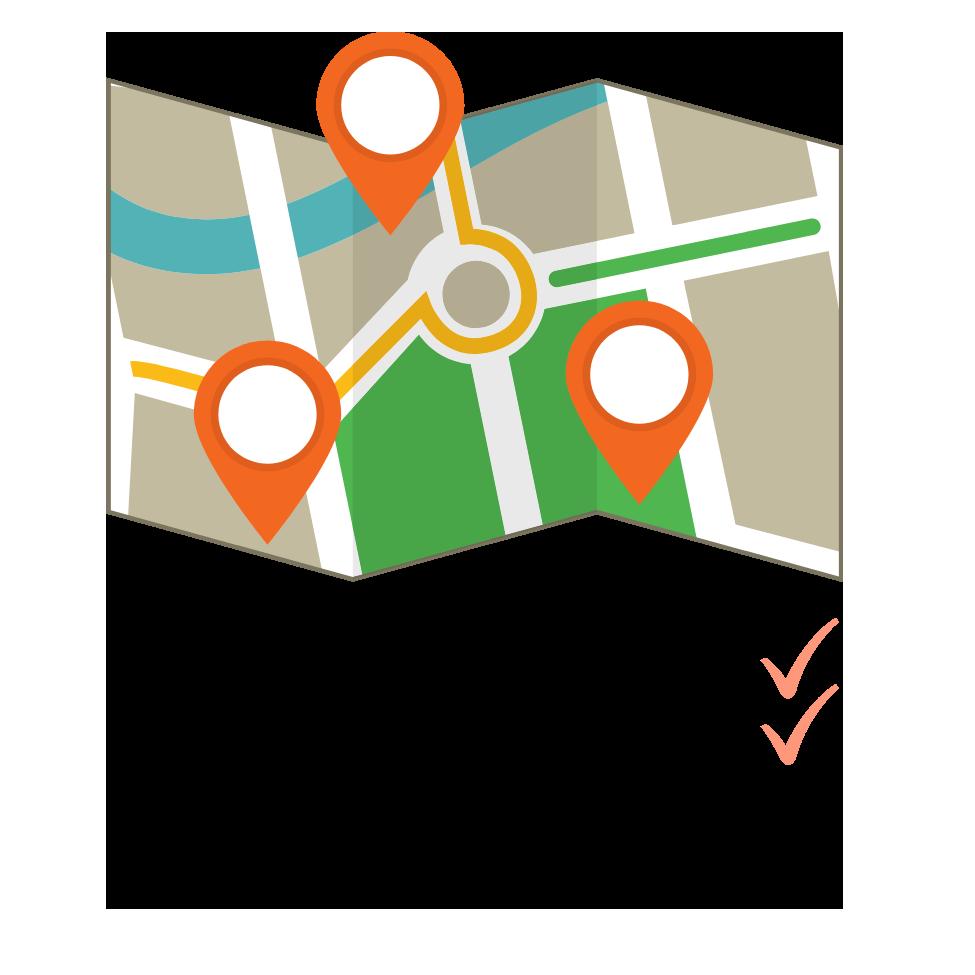 Karte mit den Städten